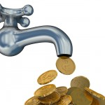 Financial stream. 3D image. The isolated illustration